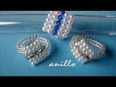 DIY - Anillo facil de perlas y tupis swarouski- Easy ring of pearls and swarovski tupis - YouTube
