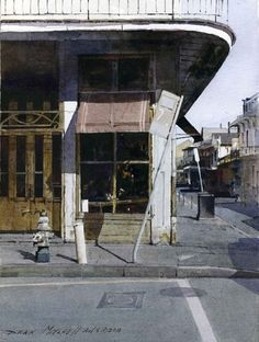 French Quarter Corner, watercolor by Dean Mitchell