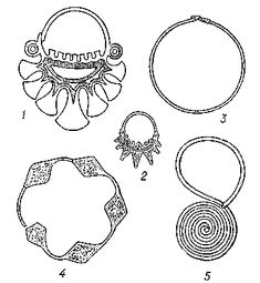 Temple rings (kolty) of Slavic tribes: 1- Vyatichi, 2- Radimichi, 3 - Krivichi, 4 - Slovens from Novgorod, 5- Severyani