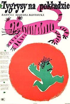 1961 Polish movie poster by Jan Mlodozeniec Polish Movie Posters, Polish Films, Movie Poster Art, New Poster, Art Deco Posters, Vintage Posters, Book Cover Design, Book Design, Summer Drawings