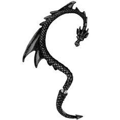 BLACK The Dragon's Lure Gothic Ear Wrap Earring ($22) ❤ liked on Polyvore featuring jewelry, earrings, goth jewelry, wrap jewelry, gothic jewelry, black jet jewelry and black earrings