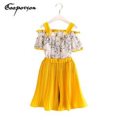 Good price Girls Summer Set Word Collar Chiffon Blouse Shirt +Pants Kids Girl Clothes Sets Outfits Children Clothing Drop Ship Fashion Set just only $10.75 - 11.61 with free shipping worldwide  #girlsclothing Plese click on picture to see our special price for you