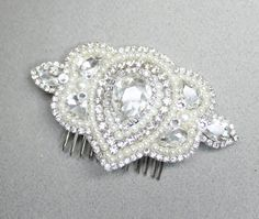 Rhinestone & Pearl Hair Comb Bridal Hair accessory by BrassBoheme