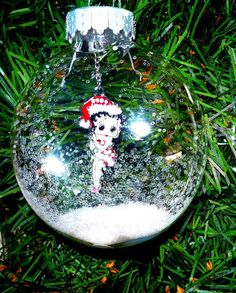 Betty Boop Christmas Ornament Snow Glitter Decoration Semi Snow Globe