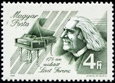 Franz Liszt (1811-1886), Hungarian stamp to commemorate the 175th anniversary of Liszt's birth, issued on 1986.