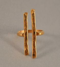 Hammered Gold Couplet Ring