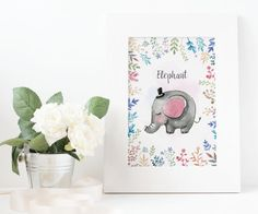 watercolor elephant animal print kids printable poster