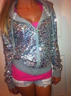 PINK-BY-VICTORIAS-SECRET-FASHION-SHOW-2013-BLING-SEQUIN-JACKET-HOODIE-SMALL-EUC