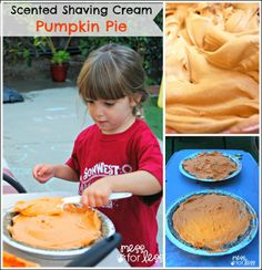Scented Shaving Cream Pumpkin Pie - This fall sensory activity allows kids to create a play pumpkin pie using sand and shaving cream. So much fun! Autumn Activities, Sensory Activities, Sensory Play, Activities For Kids, Sensory Bins, Sensory Table, Kindergarten Activities, Learning Activities, Kids Learning