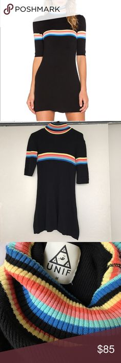 UNIF Relly Rainbow Dress This is a knit, ribbed black dress with a rainbow turtleneck. So many 90s vibes. Worn a few times, but I'm not much for color anymore. Really good condition, size M. UNIF Dresses