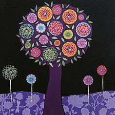 I could dream big dreams under this tree!     Modern Abstract Purple Flower Tree Painting by Sascalia