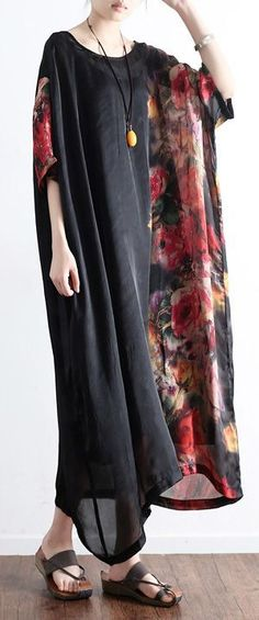 2017 black prints silk dresses patchwork short sleeve maxi dress