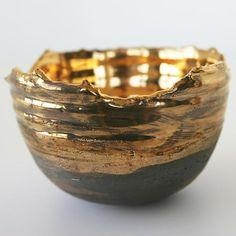 Gold Relic Bowl: Tatiana Hunter: Ceramic Bowl - Artful Home Ceramic Clay, Ceramic Bowls, Pottery Bowls, Ceramic Pottery, Earthenware, Stoneware, Beatrice Wood, Pinch Pots, Kintsugi