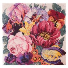 Posy of Flowers - Ehrman Tapestry Beautiful bouquet of flowers featuring pansy, rose, poppy, peony. Needlepoint design