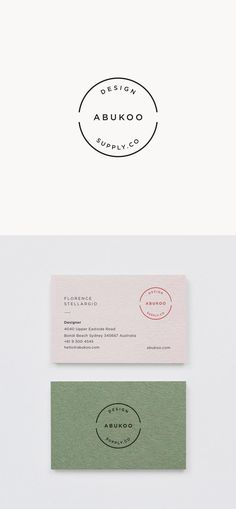 Minimal business card. Simple white, black and green design.