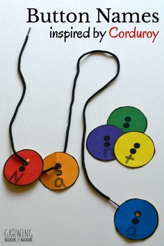 The Corduroy book by Don Freeman inspired this button activity for learning a child& name. A free button printable is included! The Corduroy book by Don Freeman inspired this button activ Preschool Names, Name Activities, Preschool Class, Alphabet Activities, Motor Activities, Preschool Activities, Kindergarten, Preschool Books, Corduroy Activities