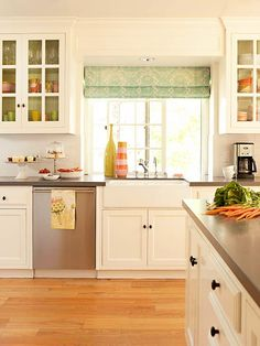 than $500. Replace outdated countertops with a stone-substitute laminate. Or, create drama by hanging new fixtures and under-cabinet lighting. Or, dress up cabinets with a fresh coat of paint and fashionable knobs or pulls. Or, hang fun window treatments and add colorful accessories to match.