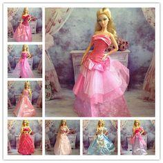 正版芭比娃娃衣服配件正品服装婚纱礼服大裙戴头纱/可儿娃娃可穿3