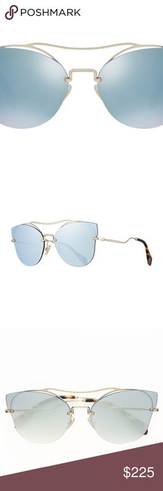 """Miu Miu Scenique Mirrored Rimless Blue Sunglasses Currently in stores. Miu Miu Scenique Rimless Mirrored Brow-Bar Sunglasses in Light Gold & Blue.   -Miu Miu """"Scenique"""" metal butterfly sunglasses -Lens/bridge/temple (in mm): 62-17-145 -Mirrored lenses with screw detail -Rimless frame front -Curved double bridge with adjustable nose pads -Thin, wire arms with logo embossing and capped tips -100% UVA/UVB protection -Made in Italy -These sunglasses have been lightly used & have very minor, tiny…"""