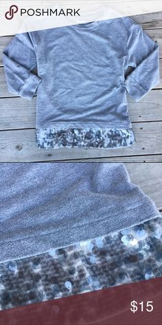 Grey Sequin Sweater Light grey sweater wit Sequin design at bottom. Brand new!! NWOT. (Not BP) • No Trades • 15% off of BUNDLES of 3 or more • bp Sweaters