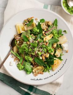 Tips on preparing artichokes, as well as a fresh spring salad with mint and spinach pesto.