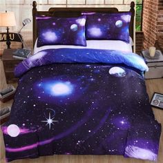 Sookie 3D Print Deep Blue Purple Galaxy Bedding Set 4-pieces Queen Size Outer Space (Duvet Cover + Flat Sheet + 2 Pillowcases)