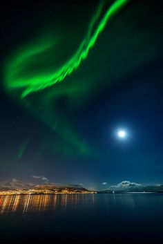 Clear sky over Tromsø, Norway.