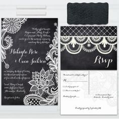 Chalkboard and lace wedding invitations. Contact me today for a free proof!  Lace Chalkboard Wedding Invitations, with RSVP postcards and address labels, Custom Wedding Invites, SAMPLE