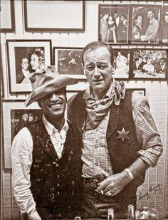 Sammy Davis Jr. wearing John Wayne's iconic cavalry hat.