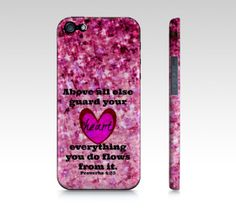 Guard Your Heart  iPhone 4 4S or 5 5S 5C Hard Case by EbiEmporium, $40.00 Abstract Art Typography  Inspirational Jesus Christ Bible Verse Christian Quote Religious iPhone Case, Cell Phone Cover, Whimsical Uplifting Fine Art Feminine Motivational Pretty in Pink Decorative Tech Case
