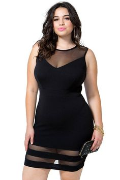 A'GACI Plus+ Online Exclusive  Make way for trouble! A curve-hugging bodycon dress featuring sheer mesh insets at the yoke and skirt. Round neck. Sleeveless. Keyhole back with a button loop closure. Finished short hem. Textured knit. Unlined. $29.50