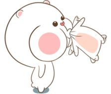 Lovely couple of Bear & Rabbit. Cartoon Memes, Cartoon Pics, Rabbit Wallpaper, Cat With Blue Eyes, Funny Cute Cats, Cute Love Gif, Love Stickers, Cute Memes, Cute Cartoon Wallpapers