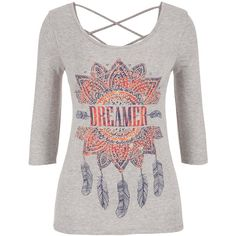 maurices Tee With Strappy Back And Dreamer Graphic (63 RON) ❤ liked on Polyvore featuring tops, t-shirts, shirts, blouses, long sleeves, grey, long sleeve graphic t shirts, graphic long sleeve shirts, grey long sleeve shirt and long-sleeve shirt