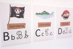 Alfabeto Piratas Pirate Theme, Place Cards, Place Card Holders, Alphabet, Productivity, Pirates
