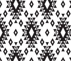 Tribal Aztec-White & Black by bohemiangypsyjane - Back of Quilt?