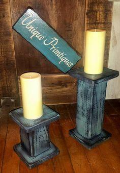 Grungy Pedestal Pillar Candle Holder Primitive by UniquePrimtiques