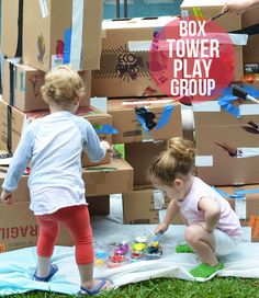 Cardboard Box Tower for Toddlers - Great Play Group Activity