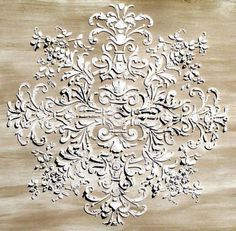 Plaster stencils for ceiling, wall, furniture, etc.lots of French Provençal style possibilities! Plaster Crafts, Plaster Art, Plaster Walls, Plaster Mouldings, Furniture Makeover, Diy Furniture, French Furniture, Elegant Home Decor, Ceiling Medallions