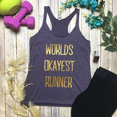 Gym Tank Workout Tanks Running Tank Worlds Okayest Runner Funny... (€17) ❤ liked on Polyvore featuring activewear, activewear tops, blue, women's clothing, blue jersey, blue checkered shirt, navy blue shirt, navy checkered shirt and checkered shirt