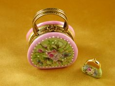 Round purse w/coin wallet victoria.. - Porcelain Limoges from France - Limoges Factory Co.