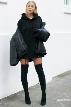 Puffer Jacket & Knee Highs Jacket – Reclamed Vintage (here) Oversized Hoodie – H&M Man Over Knee Boots – Asos (here) Fashion Look by Victoria Tornegren