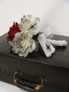 Red & White Zombie Corpse Bride Wedding Dead Rose Flower Bouquet with Spiders ooak by wardrobetheglobe, $40.00