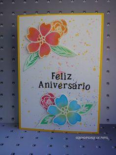 Cartão de aniversário floral; Postal de aniversário floral; Birthday card using gelatos; Ellen Htson stamps