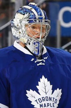 Frederik Andersen of the Toronto Maple Leafs looks on during a break in the action against the New Jersey Devils at Prudential Center on January 2017 in Newark, New Jersey. The Toronto Maple Leafs won (Photo by Andy Marlin/NHLI via Getty Images) Hockey Baby, Hockey Goalie, Nhl Games, Hockey Games, William Nylander, Maple Leafs Hockey, Hockey Boards, Trailer Park Boys, Goalie Mask