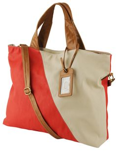 """Forever 21 Colorblocked Weekender in Coral/Cream $34.80 