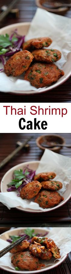 Thai Shrimp Cake - the most amazing and delicious Thai shrimp cake ever, with sweet chili sauce. Get the easy recipe now!!   http://rasamalaysia.com