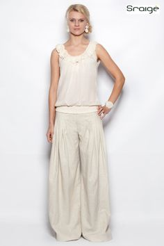 Pleated Elegant Linen Pants by SraigeDesigns on Etsy, $220.00