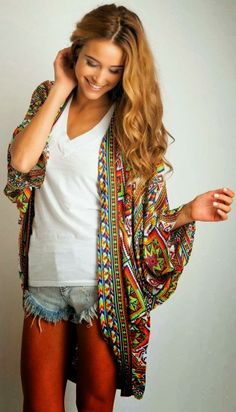 Attractive Colorful Patterned Oversized Cardigan with T-Shirt and Mini Jeans Shorts