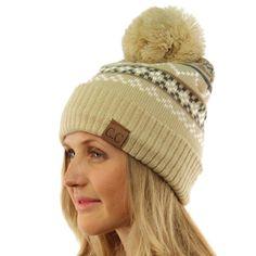 acafb42aa66 Winter Ultra Soft Thick Tribal Knit Pom Pom Beanie Skull Ski Hat Snow Cap  Beige