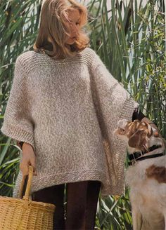 KNIT PONCHO PATTERN Easy Quick Vintage Knit Pattern for 1970s Warm Boho Wrap/Coverup from GrannyTakesATrip 0157
